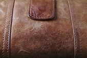 Very Close Up Of Brown Leater Purse