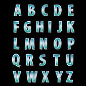 vector alphabet with steel letters with blue landscape reflection