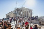 People Sightseeing Parthenon