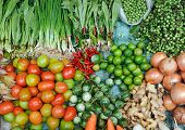 Various fresh vegetables in Asian traditional street market. Healthy food background