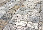 Medieval Street Paved With The Cobble Stones