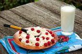 Curd With Raspberries And A Glass Of Milk