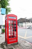 Red Phone Booth In Chiang Mai, Thailand