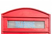 stock photo of phone-booth  - traditional red phone booth isolated on white background - JPG