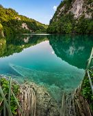 Sunk Boat In Plitvice Lakes National Park In Croatia