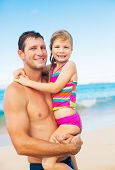 Happy and Loving Father and Daughter on the Beach, Summer Lifestyle