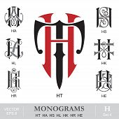 Vintage Monograms HT HA HS HL HK HR HE can also be TH AH SH LH KH EH