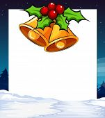 Illustration of a banner with mistletoe background
