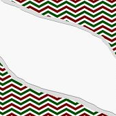 Red, Green And White Chevron Frame With Torn Background