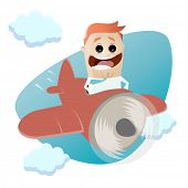 funny businessman flying with a plane