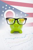 Piggy Bank With Us State Flag On Background - Ohio