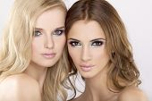 Two beautiful attractive and sensuality pretty girl friends - blond and brunette on white background