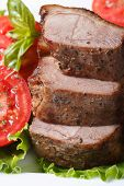 Slices Of Roasted Duck Meat Fillets With Tomatoes Vertical