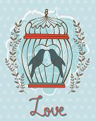 Beautiful love card with birds in cage