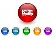 delivery internet icons colorful set