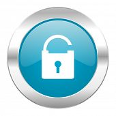 padlock internet blue icon