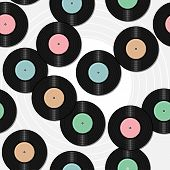 seamless background with vinyl records