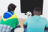Rear view of two Brazilian soccer fans watching tv