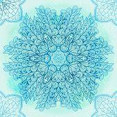 Hand Drawn Ethnic Circular Blue Ornament. Eps10