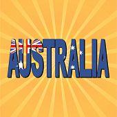 Australia flag text with sunburst vector illustration