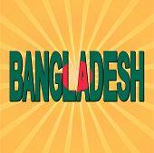 Bangladesh flag text with sunburst vector illustration