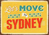 Vintage metal sign - Let's move to Sydney - JPG Version