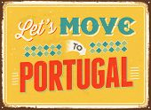 Vintage metal sign - Let's move to Portugal - JPG Version