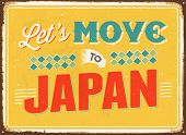 Vintage metal sign - Let's move to Japan - JPG Version