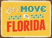 Vintage metal sign - Let's move to Florida - JPG Version
