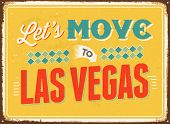 Vintage metal sign - Let's move to Las Vegas - JPG Version