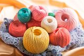 Set of colorful cotton yarn