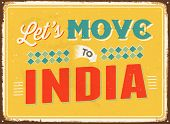 Vintage metal sign - Let's move to India - JPG Version