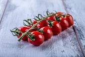 picture of roughage  - Fresh cherry tomatoes on the wooden table - JPG