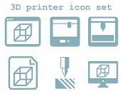 vector icon set of 3d printing technology, flat blue isolated ic