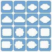 vector icon set, collection of cloud icons, white on blue backgr
