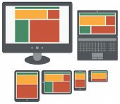 responsive design web application on screen of personal computer