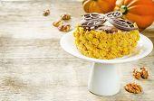Pumpkin Cheesecake With Chocolate And Walnuts