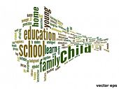 Vector eps concept or conceptual 3D child education abstract word cloud on white background