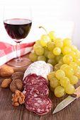 salami,grape and wine