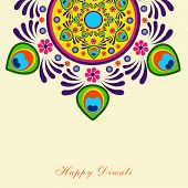 Beautiful colorful rangoli on beige background for Hindu community festival Happy Diwali celebrations.