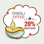 Offer poster, banner or flyer design with illuminated oil lit lamp with 20% discount on occasion of
