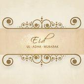 Beautiful floral decorated frame with stylish text Eid-Ul-Adha-Mubarak for Muslim community festival