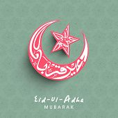 Arabic islamic calligraphy of text Eid-Ul-Adha in shape of moon and star in pink color for Muslim c