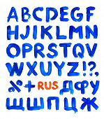 Blue paint alphabet