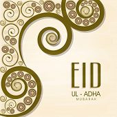 Beautiful floral design decorated greeting card for Muslim community festival Eid-Ul-Adha celebratio