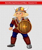 Illustraion of a male viking with a shield