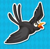 Illustration of a black bird with blue background