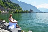Young woman at Geneva lake, Switzerland