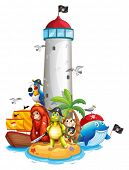 Illustraion of a lighthouse and many animals