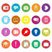 Photography Related Item Flat Icons On White Background